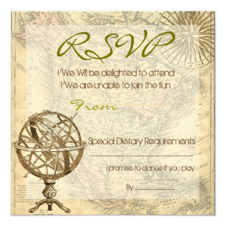 Vintage Map RSVP 13 Cm X 13 Cm Square Invitation Card