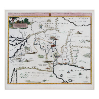 Vintage Map Situation of the Terrestrial Paradise Poster