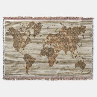 Vintage Map Throw Blanket