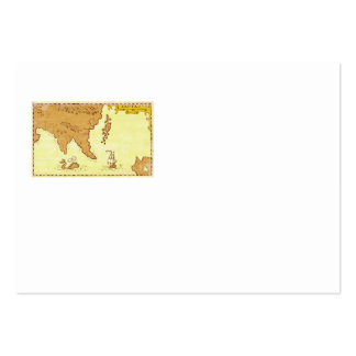 Vintage Map Treasure Island Tall Ship Whale Business Card Template