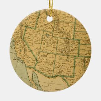 Vintage Map United States Round Ceramic Decoration