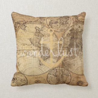 Vintage Map Wanderlust Anchor Throw Pillow