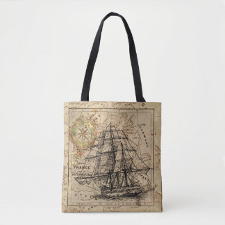 Vintage Map with Ship Tote Bag