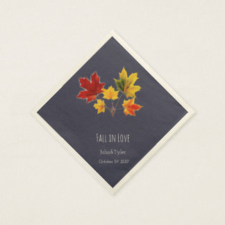 Vintage maple leaves- fall in love paper serviettes