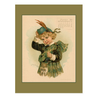Vintage March 1891 beautiful children drawing Postcard