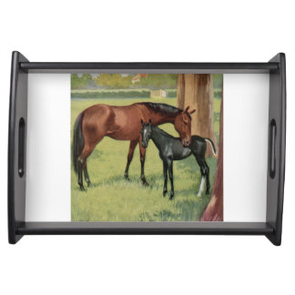 Vintage Mare and Foal Horses Food Tray