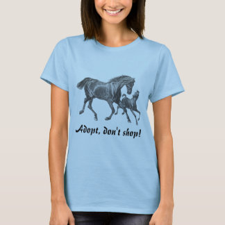 Vintage Mare & Foal Horse Print Adoption Advocate T-Shirt