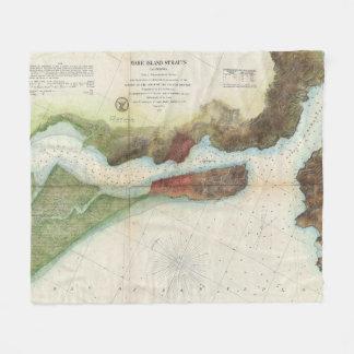 Vintage Mare Island Strait and Vallejo Map (1857) Fleece Blanket