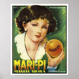 Vintage Mari-Pi Crate Label Posters