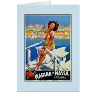 Vintage Marina di Massa Italian travel advertising Greeting Card