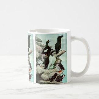 Vintage Marine Animal Life, Aquatic Birds Puffins Classic White Coffee Mug