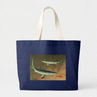 Vintage Marine Aquatic Life Blue Shark Eating Fish Bag