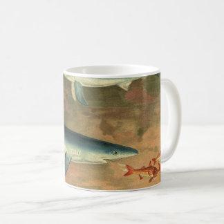 Vintage Marine Aquatic Life Blue Shark Eating Fish Coffee Mug