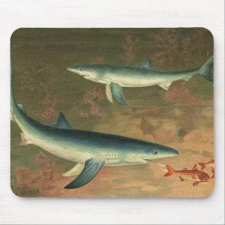 Vintage Marine Aquatic Life Blue Shark Eating Fish Mouse Pads