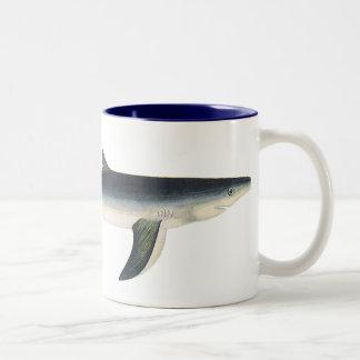 Vintage Marine Aquatic Ocean Life, Blue Shark Mugs