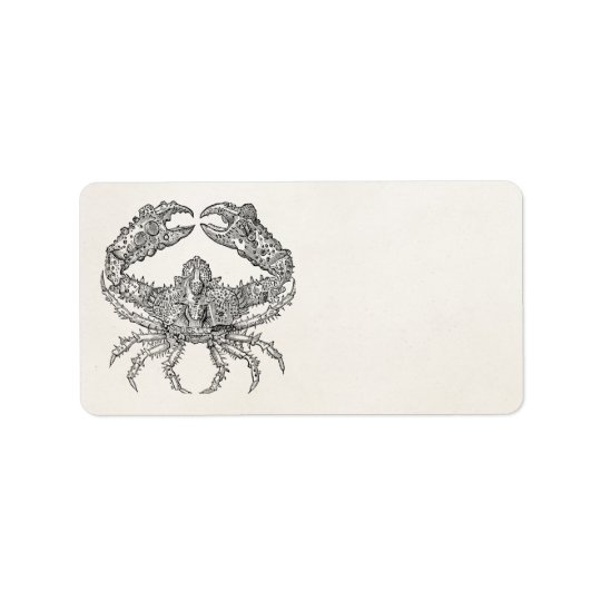 Vintage Marine Crab Parchment Personalised Address Label