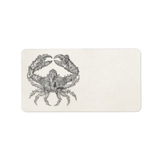 Vintage Marine Crab Parchment Personalized Label
