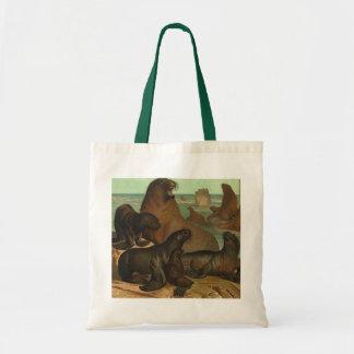 Vintage Marine Life Animals Sea Lions on the Shore Bag