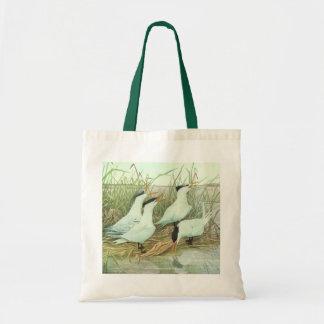 Vintage Marine Life Birds, Shorebirds in a Marsh Canvas Bags