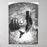 Vintage Marine Life Mammal, Sperm Whale Breaching Poster