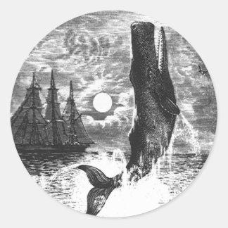 Vintage Marine Life Mammal, Sperm Whale Breaching Stickers
