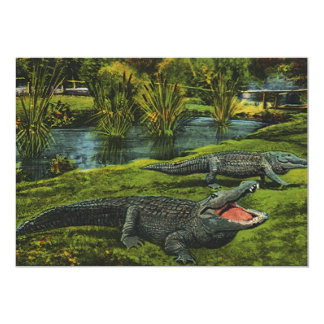 "Vintage Marine Life Reptiles, Animals, Crocodiles 5"" X 7"" Invitation Card"