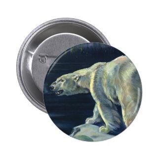 Vintage Marine Mammal, Polar Bear, Iceberg Arctic 6 Cm Round Badge