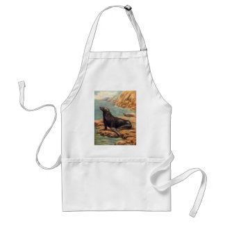 Vintage Marine Mammal Sea Lion by the Seashore Aprons