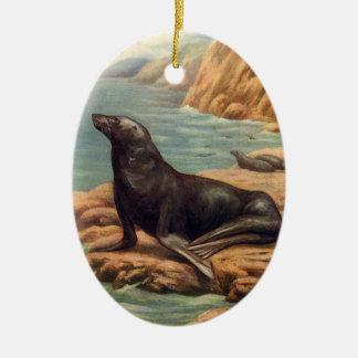 Vintage Marine Mammals, Sea Lion by the Seashore Ceramic Ornament