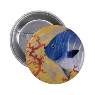 Vintage Marine Ocean Life Tropical Blue Fish Coral 6 Cm Round Badge