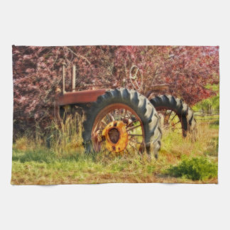 Vintage Maroon and Red Tractor Kitchen Towel