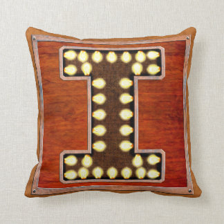 Vintage Marquee Letter I Lighted Sign Throw Pillow