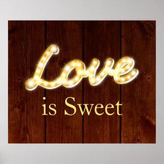 Vintage Marquee Lights Love is Sweet - barn board Poster