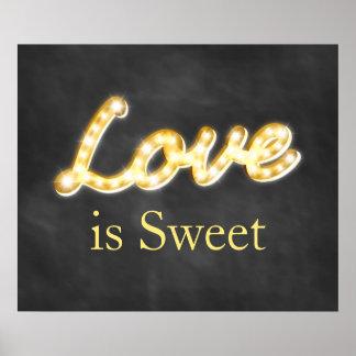 Vintage Marquee Lights Love is Sweet - chalkboard Poster