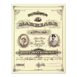 Vintage Marriage License 11 Cm X 14 Cm Invitation Card