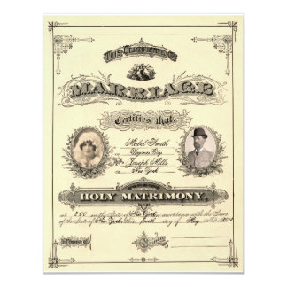Vintage Marriage License 4.25x5.5 Paper Invitation Card