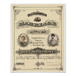 Vintage Marriage License Poster