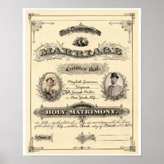 Vintage Marriage License Poster