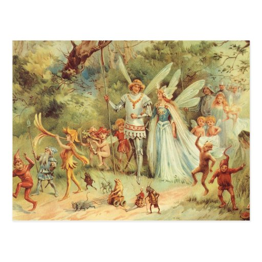 Vintage Marriage of Thumbelina and Prince Postcard