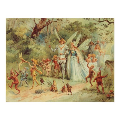 Vintage Marriage of Thumbelina and Prince Print