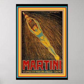 Vintage Martini & Rossi Art Deco Poster