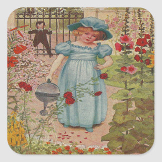 vintage Mary Mary rhyme Square Sticker