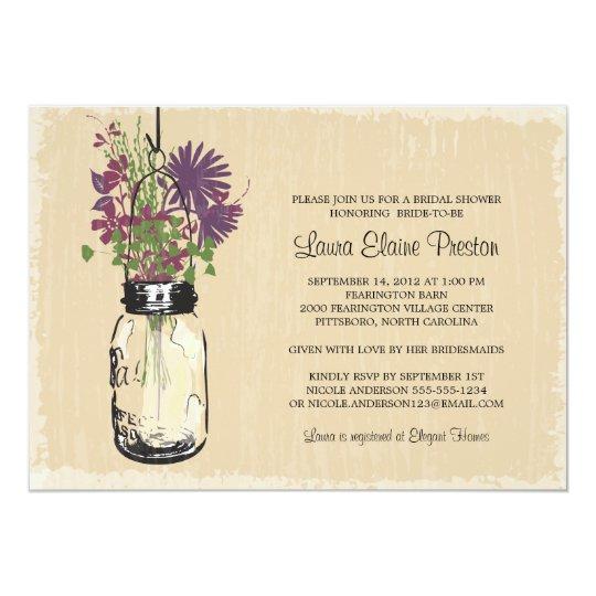 Vintage Mason Jar and Wildflowers Bridal Shower Card