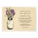 Vintage Mason Jar and Wildflowers Wedding Personalised Invitation