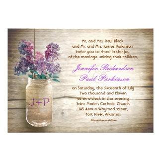 vintage mason jar flowers wedding invitation