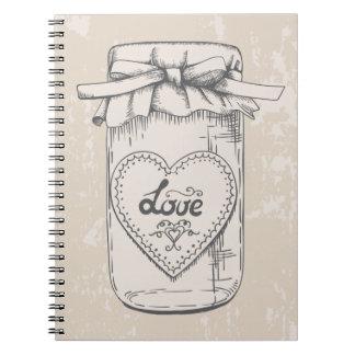 Vintage Mason Jar Hearts Rustic Brown Wedding Spiral Notebook