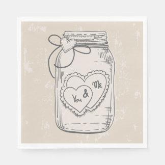 Vintage  Mason Jar Love Hearts Tan Brown Wedding Disposable Napkins