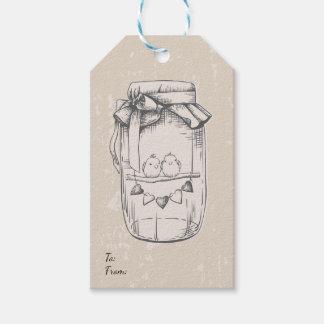 Vintage Mason Jar Lovebirds Tan Brown Wedding Gift Tags