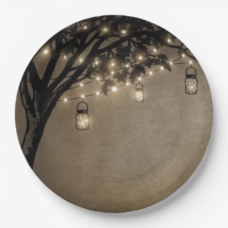 Vintage Mason Jar Oak Tree Wedding Plates 9 Inch Paper Plate