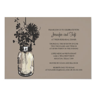 Vintage Mason Jar & Wild Flowers Rehearsal Dinner Card